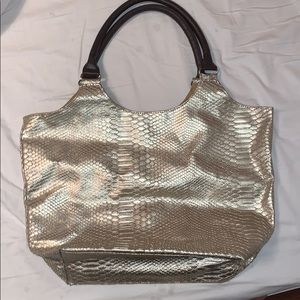 Gold textured tote